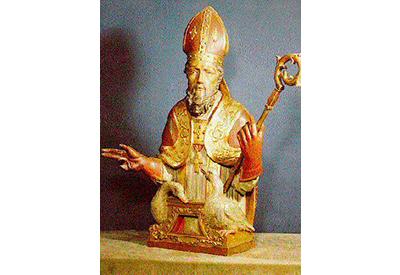 Beeld van Ludger als bisschop